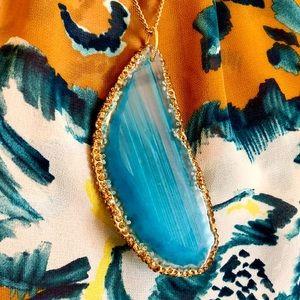 Blue Agate Pendant on Vintage MH Chain